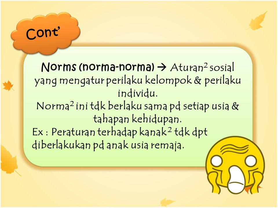 Norma2 ini tdk berlaku sama pd setiap usia & tahapan kehidupan.