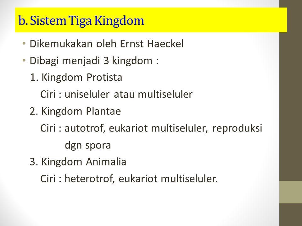 b. Sistem Tiga Kingdom Dikemukakan oleh Ernst Haeckel