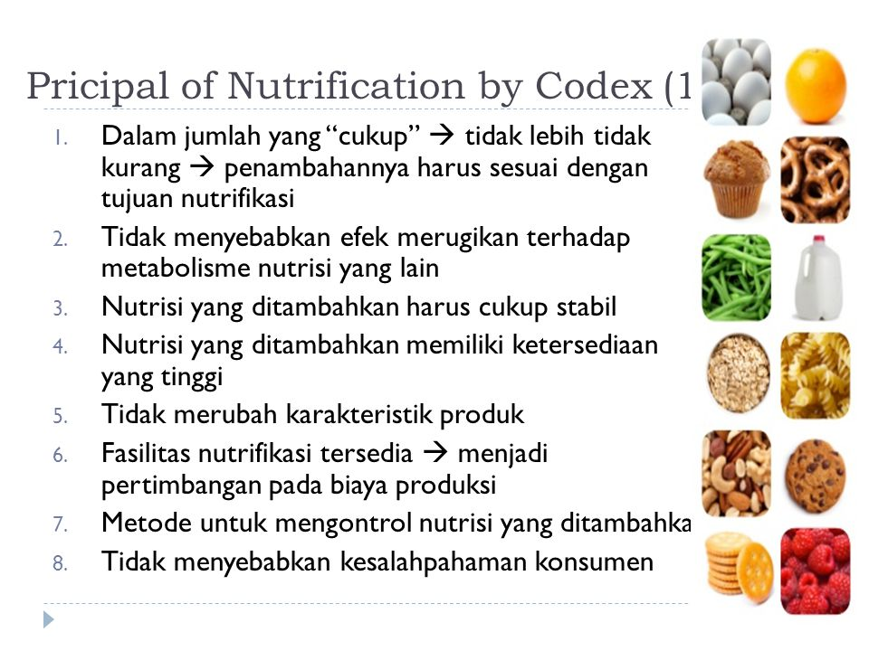 Pricipal of Nutrification by Codex (1994)