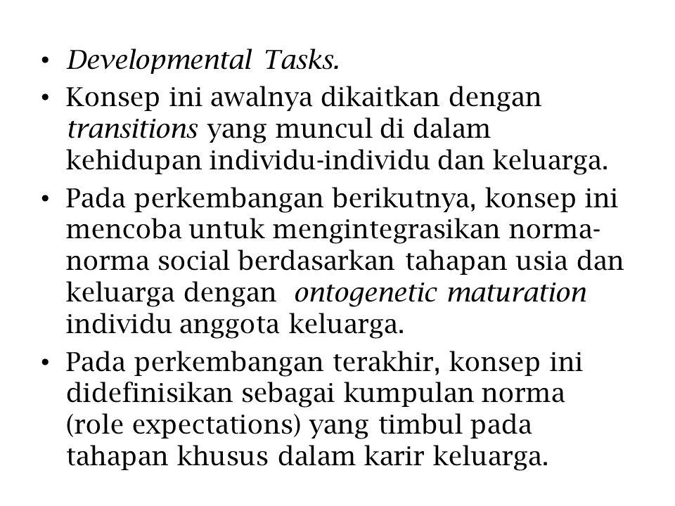 Developmental Tasks. Konsep ini awalnya dikaitkan dengan transitions yang muncul di dalam kehidupan individu-individu dan keluarga.