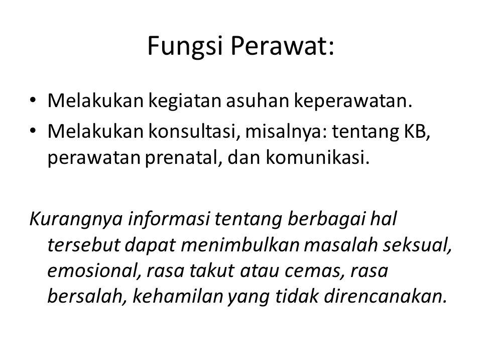 Fungsi Perawat: Melakukan kegiatan asuhan keperawatan.