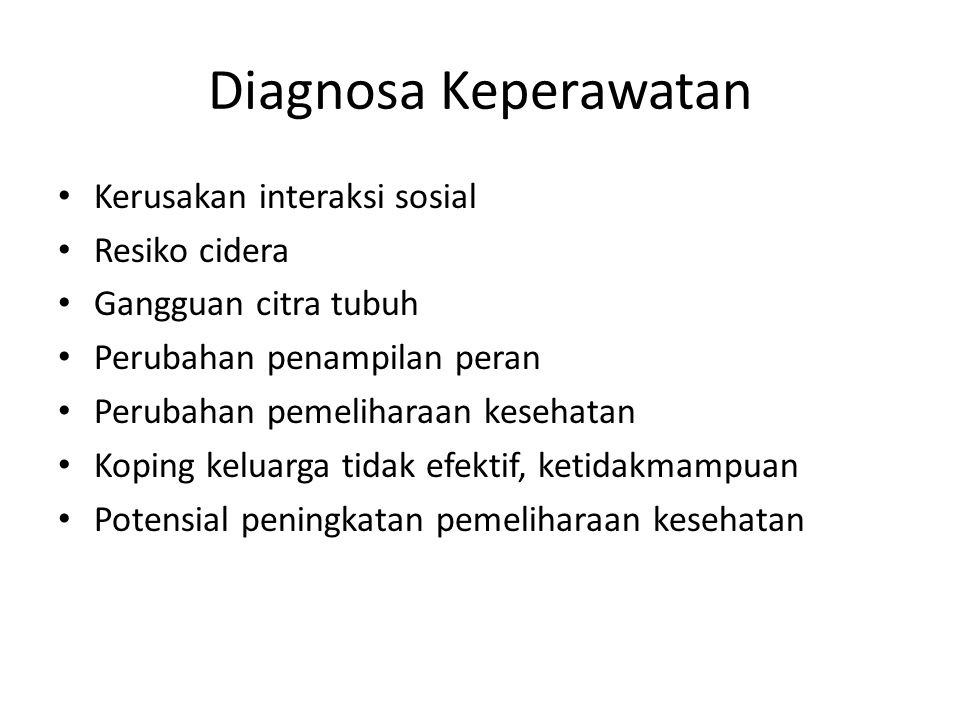 Diagnosa Keperawatan Kerusakan interaksi sosial Resiko cidera