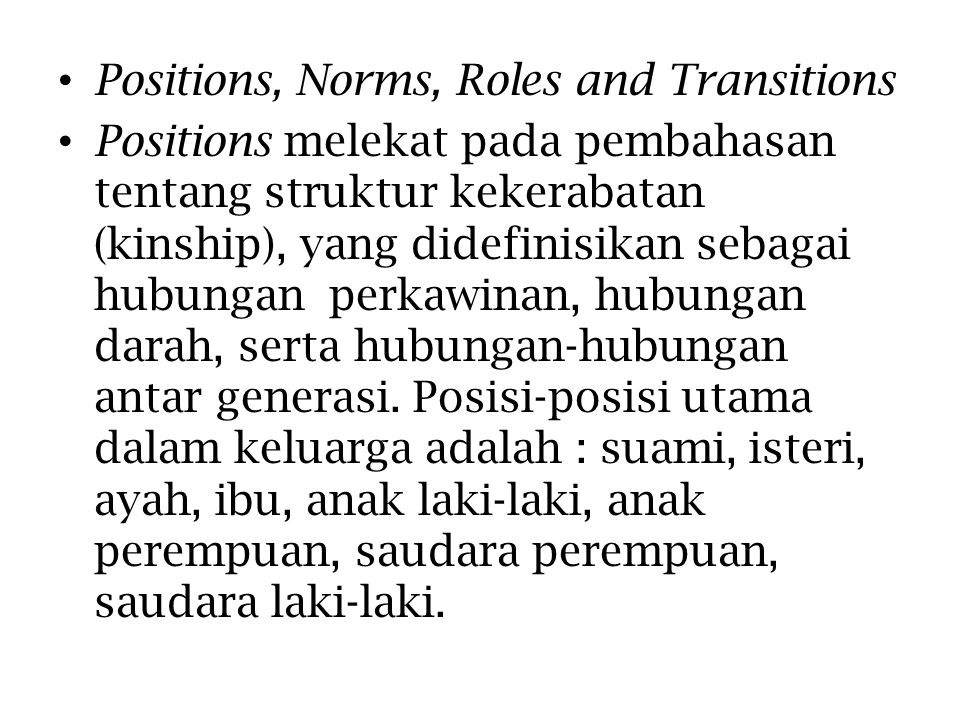 Positions, Norms, Roles and Transitions