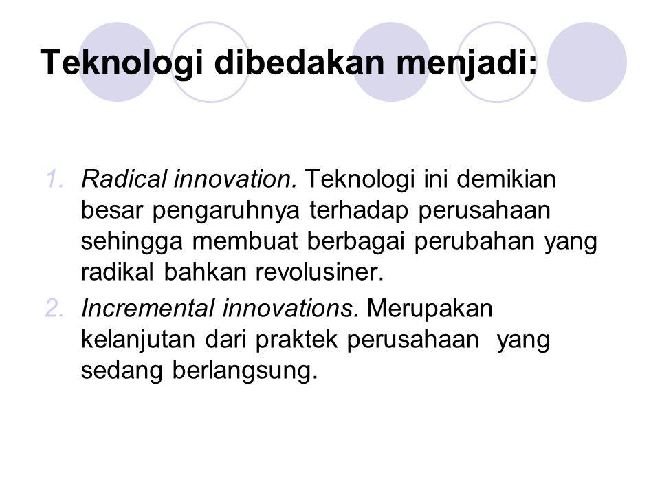 Teknologi dibedakan menjadi: