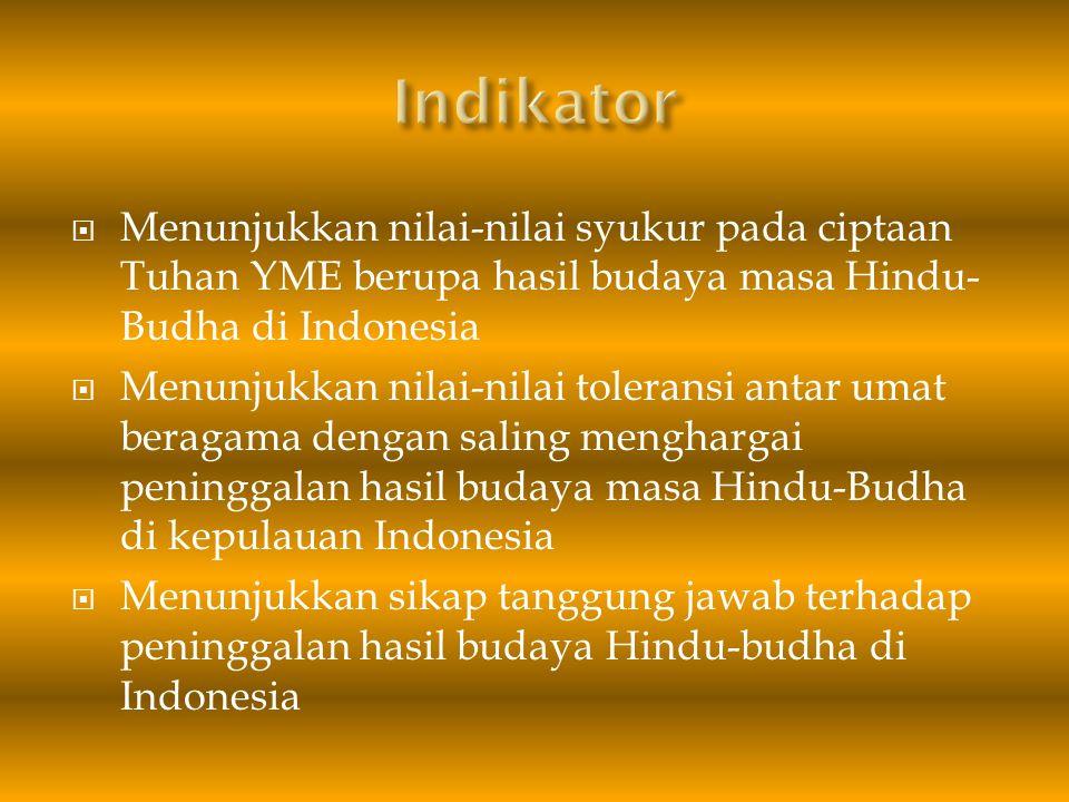 Indikator Menunjukkan nilai-nilai syukur pada ciptaan Tuhan YME berupa hasil budaya masa Hindu-Budha di Indonesia.