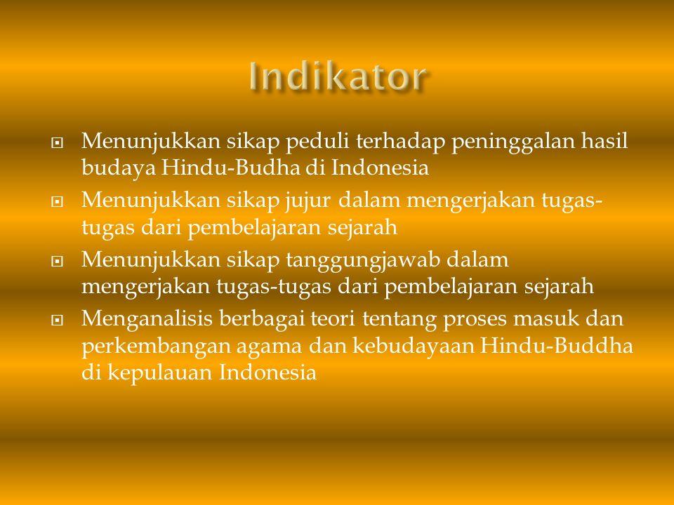 Indikator Menunjukkan sikap peduli terhadap peninggalan hasil budaya Hindu-Budha di Indonesia.