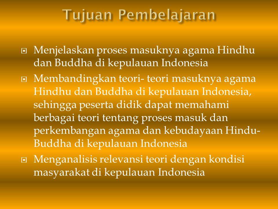 Tujuan Pembelajaran Menjelaskan proses masuknya agama Hindhu dan Buddha di kepulauan Indonesia.
