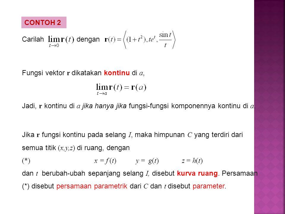 CONTOH 2 Carilah. dengan. Fungsi vektor r dikatakan kontinu di a, Jadi, r kontinu di a jika hanya jika fungsi-fungsi komponennya kontinu di a.