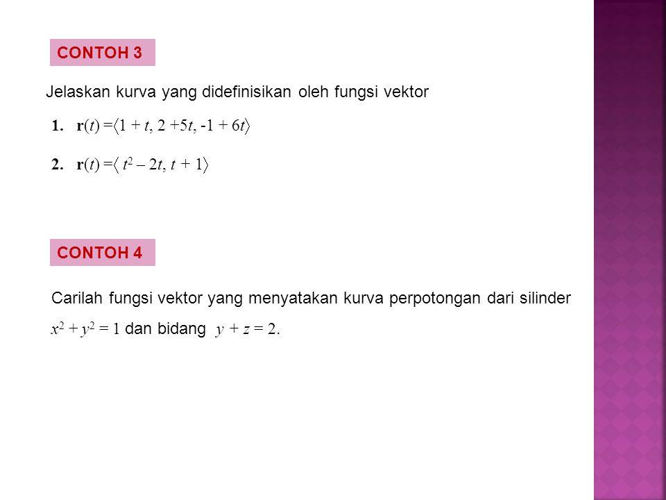 CONTOH 3 Jelaskan kurva yang didefinisikan oleh fungsi vektor. r(t) =1 + t, 2 +5t, -1 + 6t r(t) = t2 – 2t, t + 1