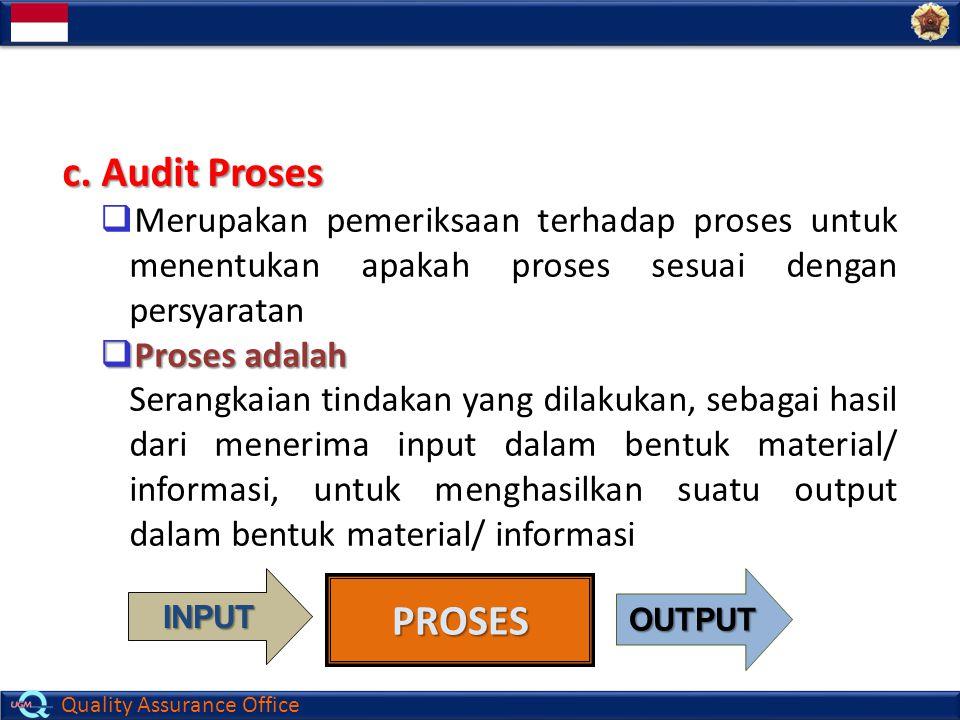 c. Audit Proses Merupakan pemeriksaan terhadap proses untuk menentukan apakah proses sesuai dengan persyaratan.