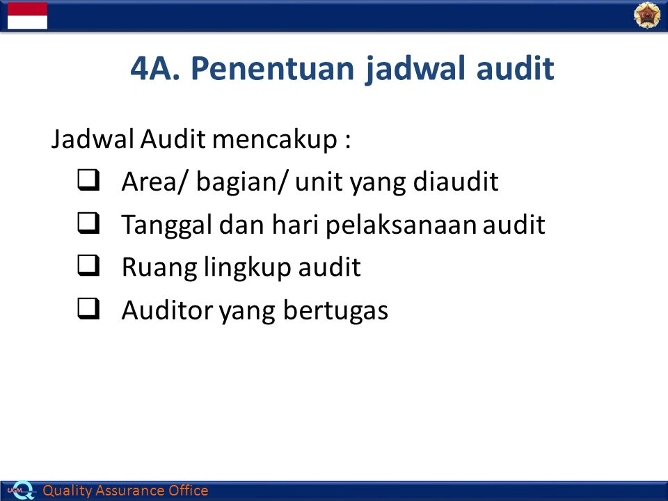 4A. Penentuan jadwal audit