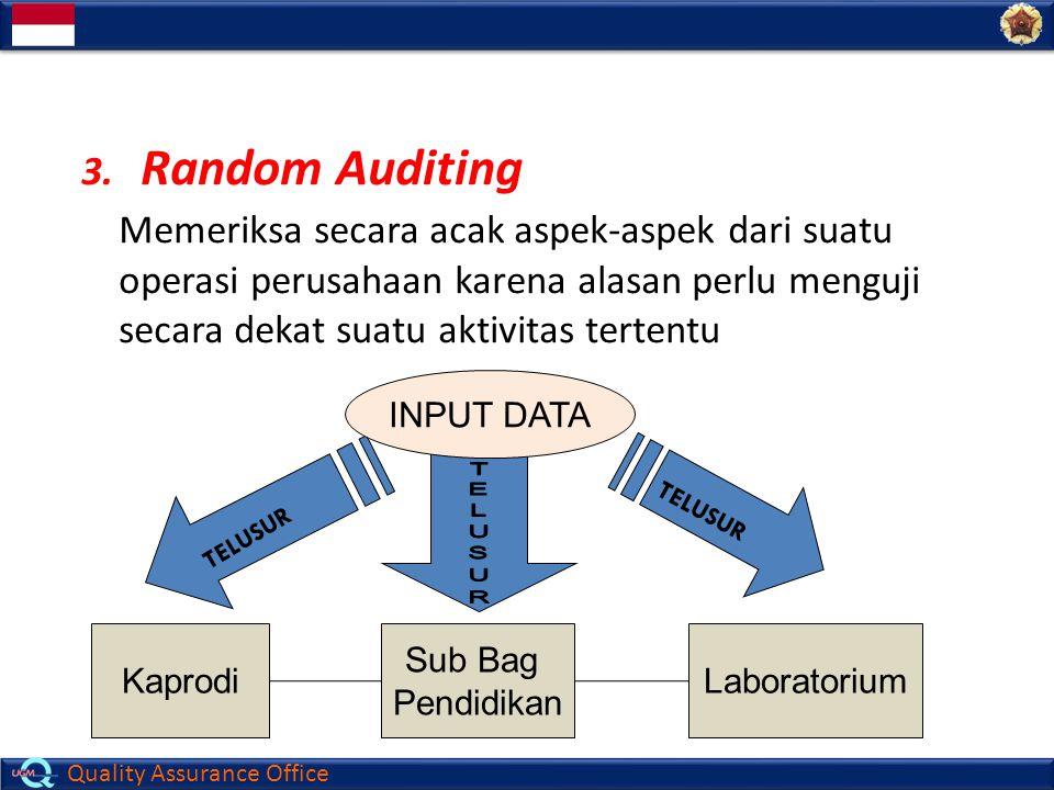 Random Auditing Memeriksa secara acak aspek-aspek dari suatu operasi perusahaan karena alasan perlu menguji secara dekat suatu aktivitas tertentu.