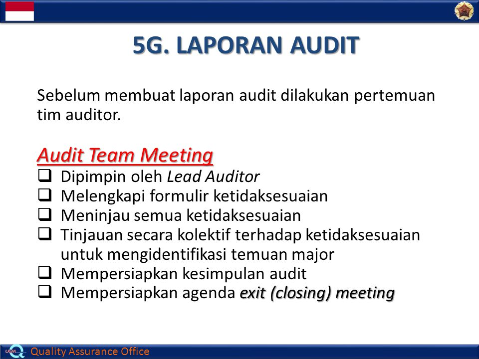 5G. LAPORAN AUDIT Audit Team Meeting