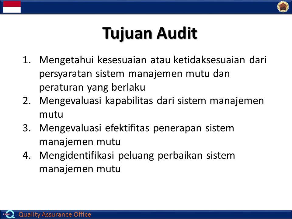 Tujuan Audit Mengetahui kesesuaian atau ketidaksesuaian dari persyaratan sistem manajemen mutu dan peraturan yang berlaku.