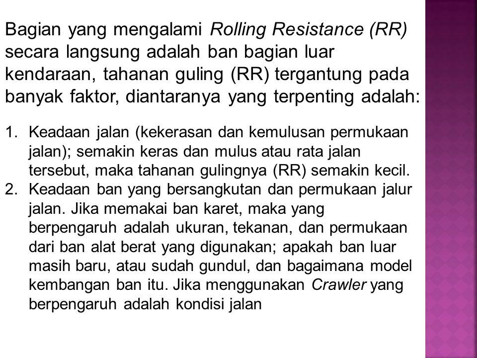 Bagian yang mengalami Rolling Resistance (RR) secara langsung adalah ban bagian luar kendaraan, tahanan guling (RR) tergantung pada banyak faktor, diantaranya yang terpenting adalah: