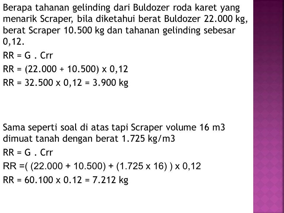 Berapa tahanan gelinding dari Buldozer roda karet yang menarik Scraper, bila diketahui berat Buldozer 22.000 kg, berat Scraper 10.500 kg dan tahanan gelinding sebesar 0,12. RR = G . Crr RR = (22.000 + 10.500) x 0,12 RR = 32.500 x 0,12 = 3.900 kg