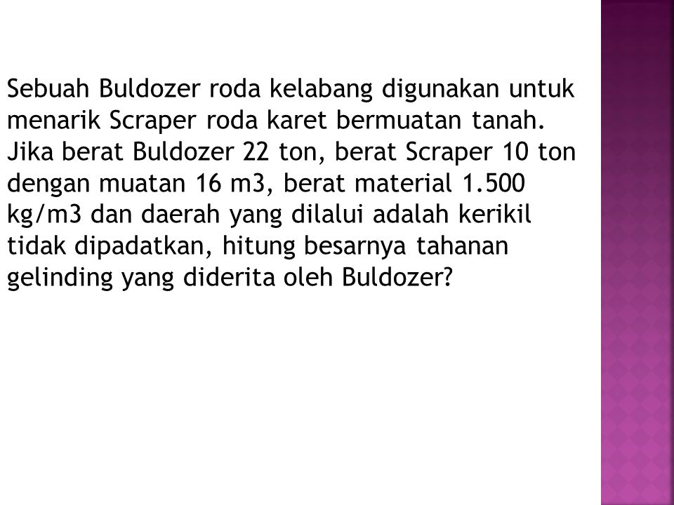 Sebuah Buldozer roda kelabang digunakan untuk menarik Scraper roda karet bermuatan tanah.
