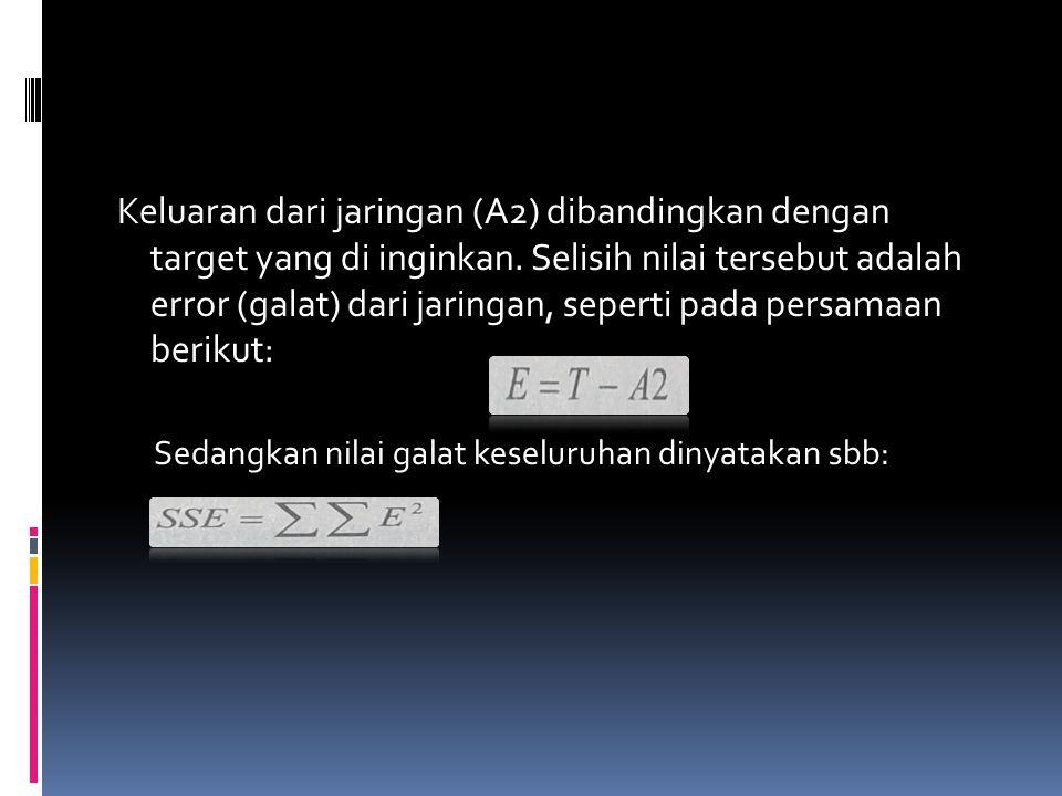 Keluaran dari jaringan (A2) dibandingkan dengan target yang di inginkan. Selisih nilai tersebut adalah error (galat) dari jaringan, seperti pada persamaan berikut: