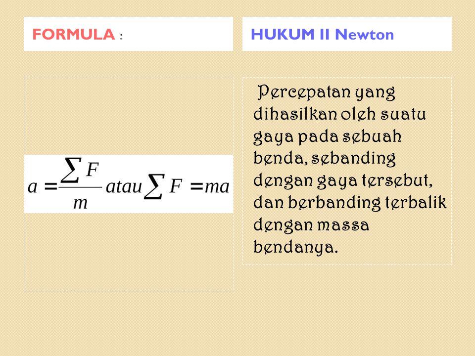 FORMULA : HUKUM II Newton.