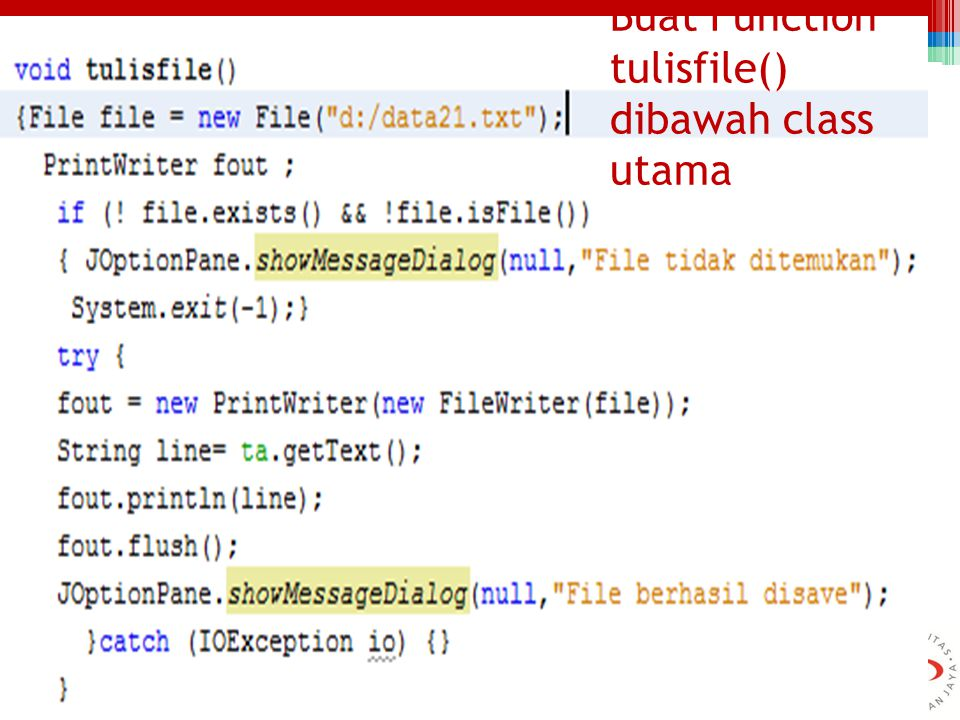 Buat Function tulisfile() dibawah class utama