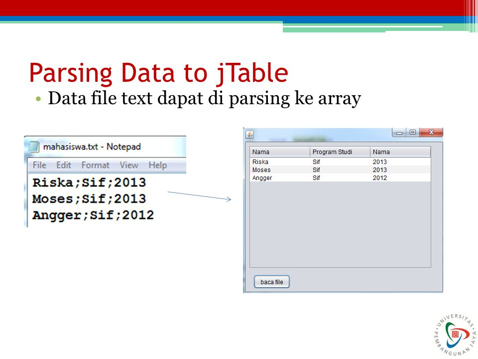 Parsing Data to jTable Data file text dapat di parsing ke array