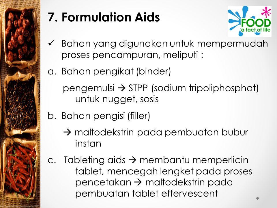 7. Formulation Aids Bahan yang digunakan untuk mempermudah proses pencampuran, meliputi : Bahan pengikat (binder)