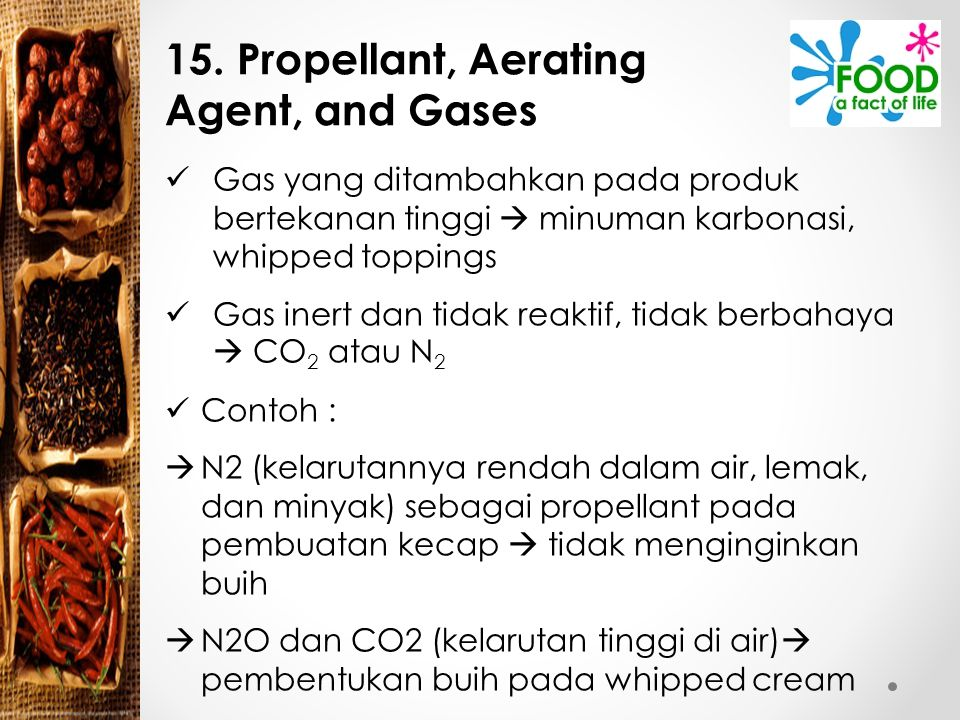 15. Propellant, Aerating Agent, and Gases