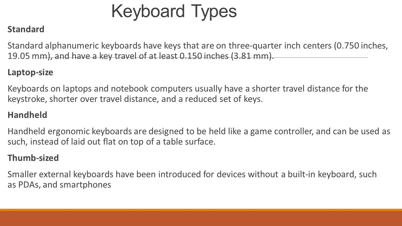 Keyboard Types Standard