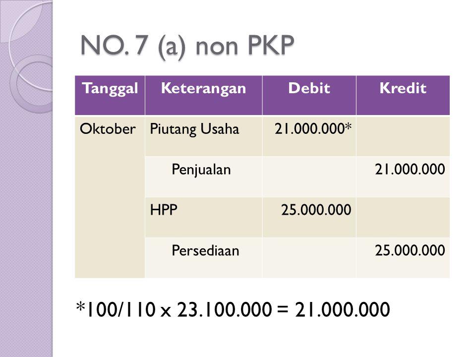 NO. 7 (a) non PKP *100/110 x 23.100.000 = 21.000.000 Tanggal