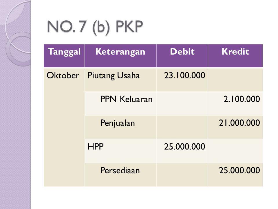 NO. 7 (b) PKP Tanggal Keterangan Debit Kredit Oktober Piutang Usaha