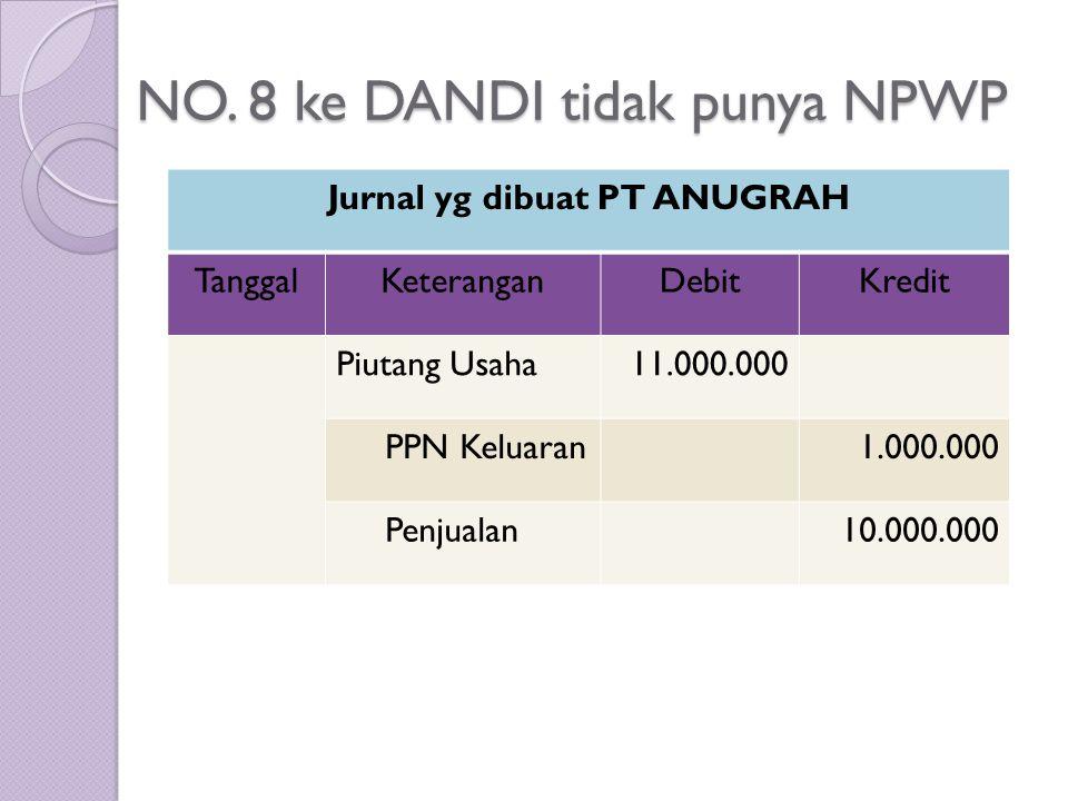 NO. 8 ke DANDI tidak punya NPWP