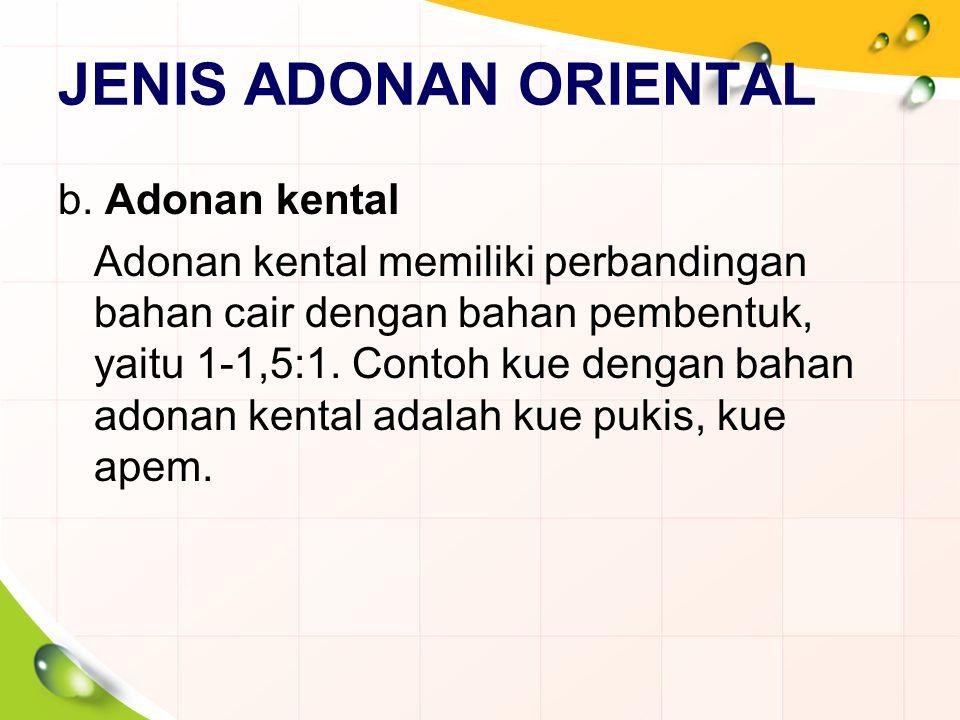 JENIS ADONAN ORIENTAL