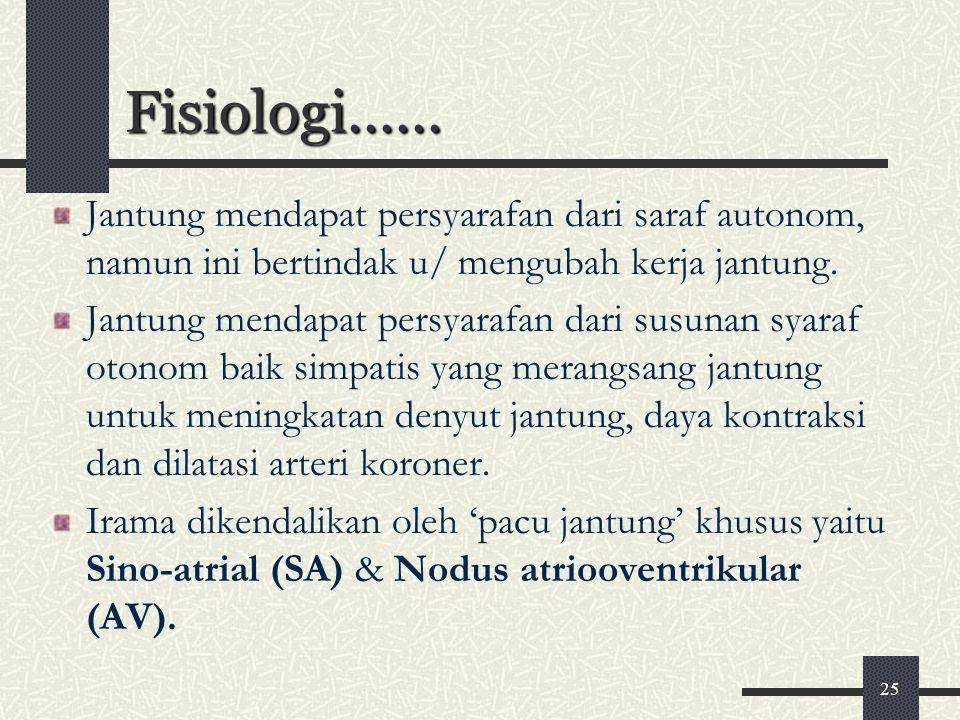 Fisiologi...... Jantung mendapat persyarafan dari saraf autonom, namun ini bertindak u/ mengubah kerja jantung.