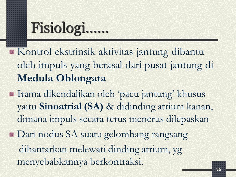 Fisiologi...... Kontrol ekstrinsik aktivitas jantung dibantu oleh impuls yang berasal dari pusat jantung di Medula Oblongata.
