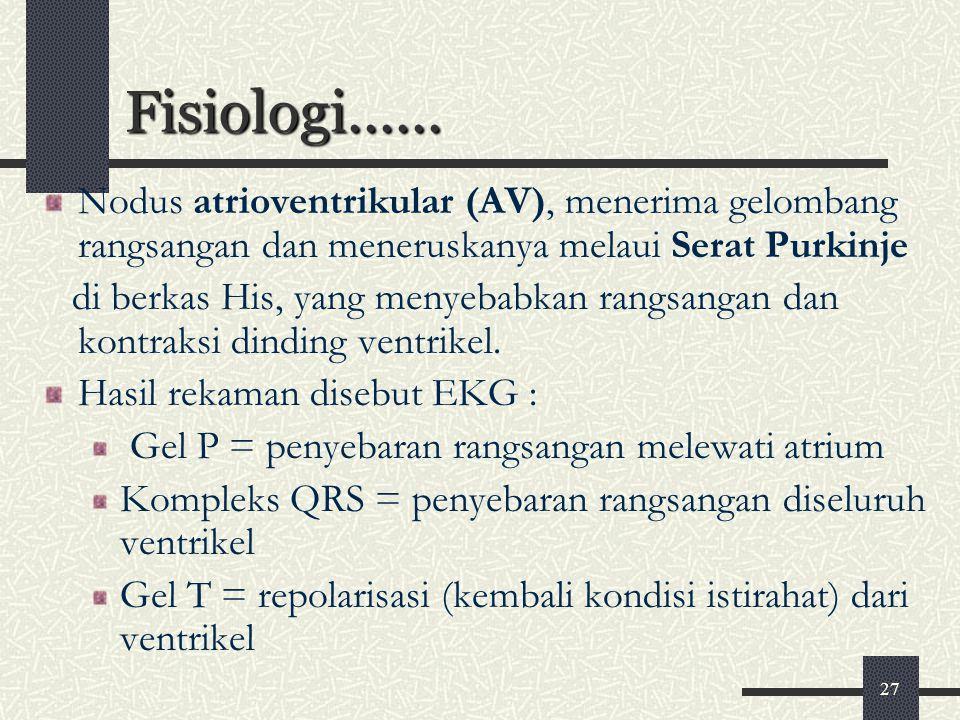 Fisiologi...... Nodus atrioventrikular (AV), menerima gelombang rangsangan dan meneruskanya melaui Serat Purkinje.