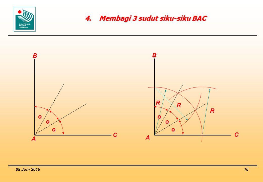 4. Membagi 3 sudut siku-siku BAC