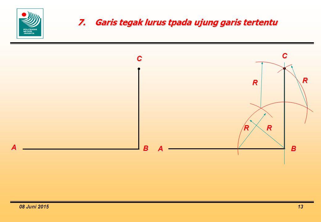 7. Garis tegak lurus tpada ujung garis tertentu