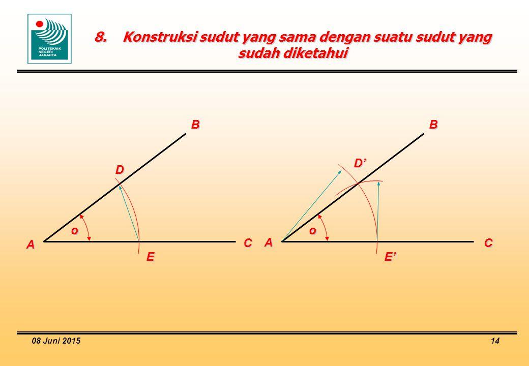 8. Konstruksi sudut yang sama dengan suatu sudut yang sudah diketahui