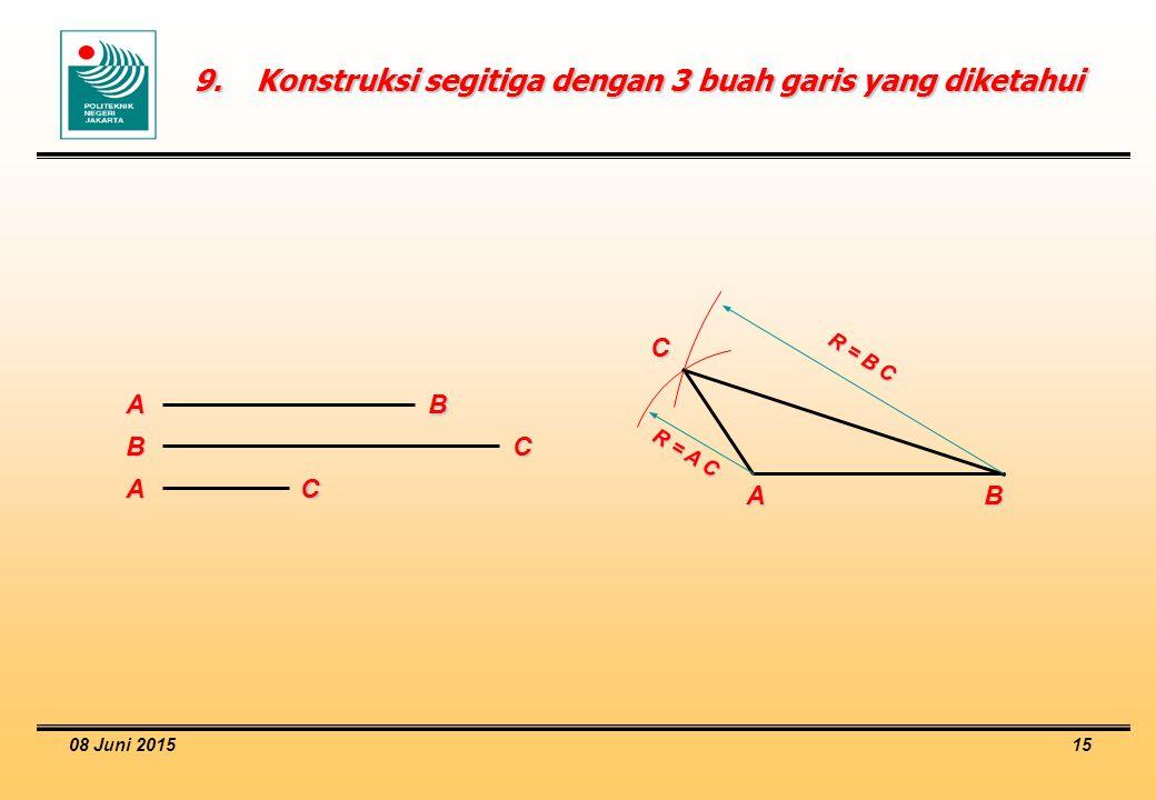 9. Konstruksi segitiga dengan 3 buah garis yang diketahui