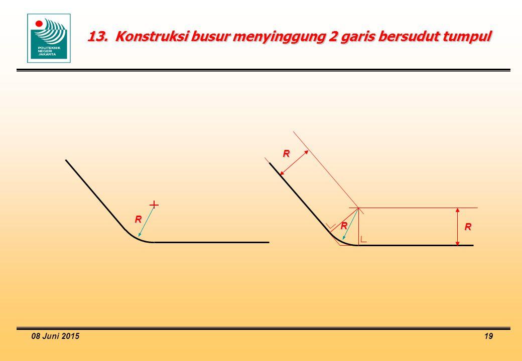 13. Konstruksi busur menyinggung 2 garis bersudut tumpul