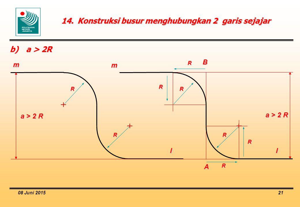 14. Konstruksi busur menghubungkan 2 garis sejajar