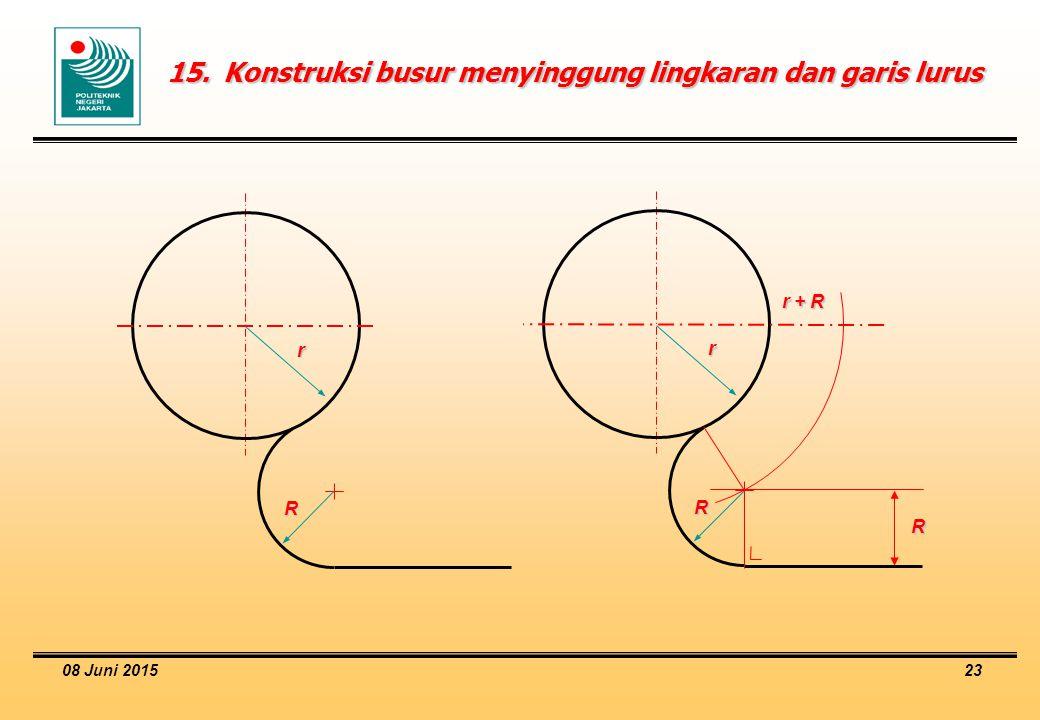 15. Konstruksi busur menyinggung lingkaran dan garis lurus