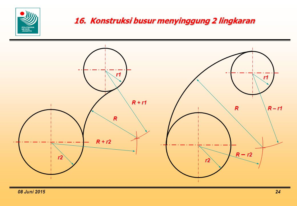 16. Konstruksi busur menyinggung 2 lingkaran