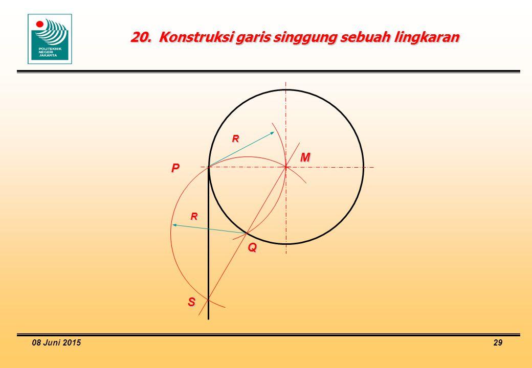 20. Konstruksi garis singgung sebuah lingkaran