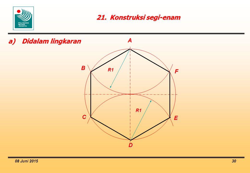 21. Konstruksi segi-enam a) Didalam lingkaran A B F C E D R1 R1
