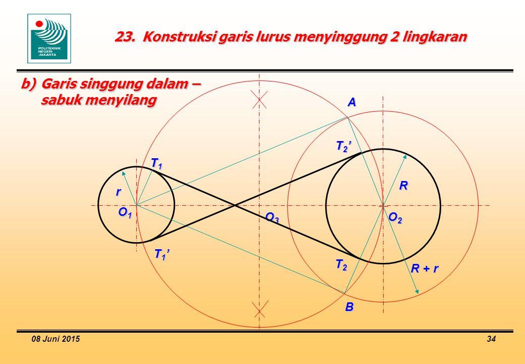 23. Konstruksi garis lurus menyinggung 2 lingkaran