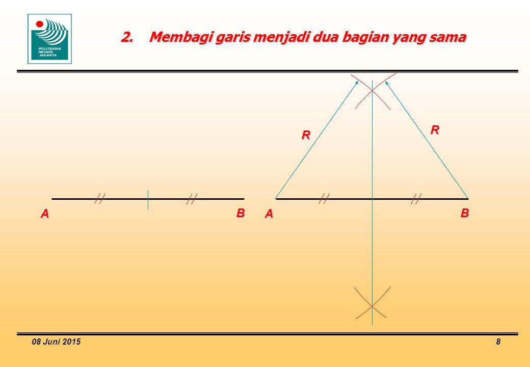 2. Membagi garis menjadi dua bagian yang sama