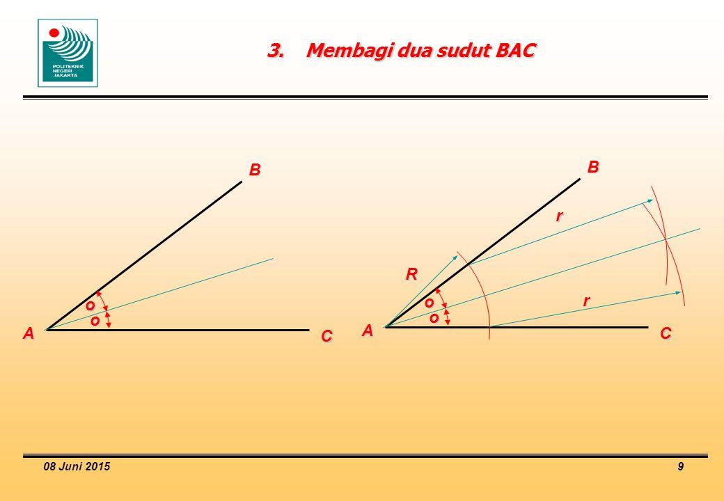 3. Membagi dua sudut BAC B B r R r o o o o A A C C 16 April 2017