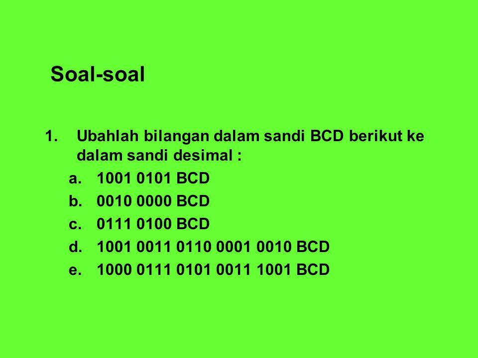 Soal-soal 1. Ubahlah bilangan dalam sandi BCD berikut ke dalam sandi desimal : 1001 0101 BCD. 0010 0000 BCD.