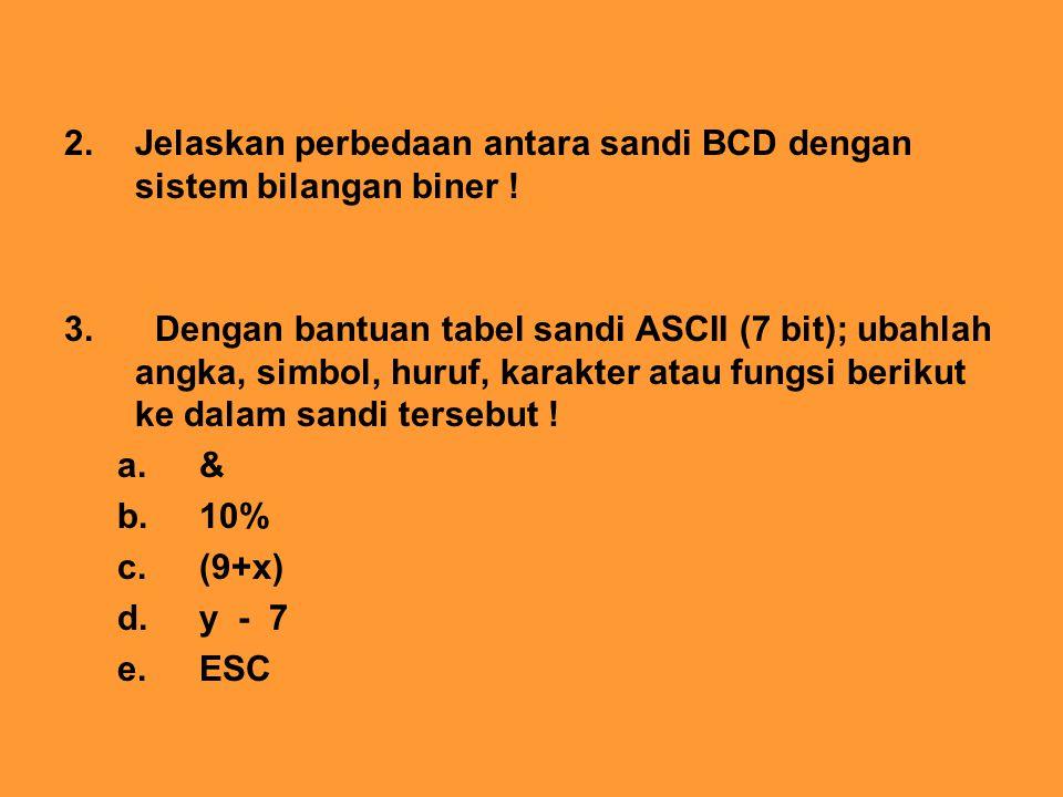 2. Jelaskan perbedaan antara sandi BCD dengan sistem bilangan biner !